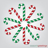 pic of meals wheels  - Candy Cane Christmas Card In Vector Format - JPG