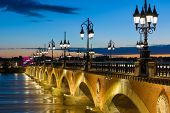 stock photo of bordeaux  - View of Bordeaux at a summer night - JPG