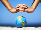 foto of environmental protection  - Earth globe in hands protected - JPG