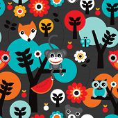 pic of jungle flowers  - Seamless retro jungle monkey and animals boys adventure background pattern in vector - JPG