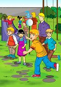 picture of swingers  - Cartoon illustration of children playing on playground - JPG