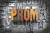 picture of senior prom  - The word prom written in vintage letterpress type - JPG