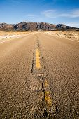 Blue Sky Worn Mountain Road Desert Travel Asphalt