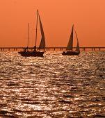 Two Sailboats At Dusk