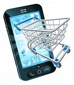 picture of grocery cart  - Mobile phone with shopping cart flying out concept for shopping online or for apps or mobile phone - JPG