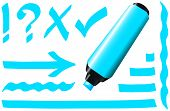 stock photo of fluorescent  - Blue fluorescent marker  - JPG