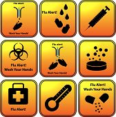 image of world health organization  - Set of vector flu alert icons - JPG