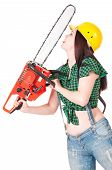 stock photo of chainsaw  - Crazy woman with gasoline - JPG