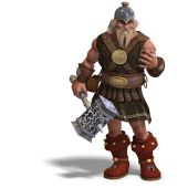 image of midget  - 3D rendering of a mighty fantasy dwarf with a hammer with clipping path and shadow over white - JPG