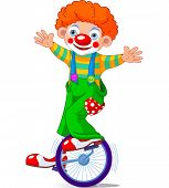 image of unicycle  - Cute Circus Clown on Unicycle - JPG