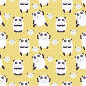 image of guru  - Cartoon pattern with cute panda guru - JPG