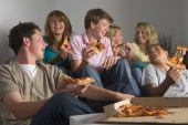 picture of underage  - Teenagers Having Fun And Eating Pizza - JPG