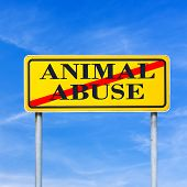 stock photo of animal cruelty  - Conceptual image of a bright yellow traffic sign against a blue sky with the words  - JPG