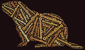 picture of groundhog  - Tag or word cloud Groundhog Day related in shape of groundhog - JPG