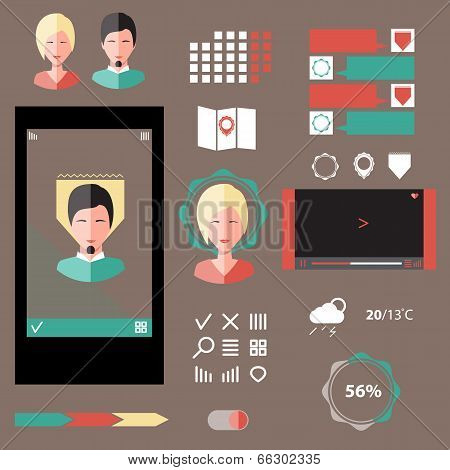 Vector Set Of Various Elements Used For User Interface Projects, Ui