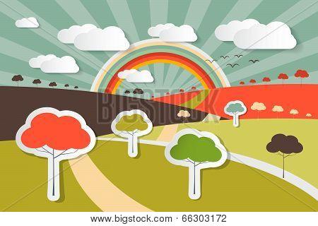 Nature Landscape Rural Scene Illustration with Paper Trees