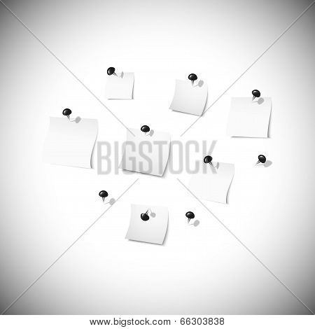 white note papers with stationery nails vector