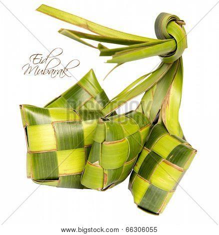 Muslim Ketupat (Rice Dumpling) with Clipping Path. Translation: Eid Mubarak - Blessed Feast