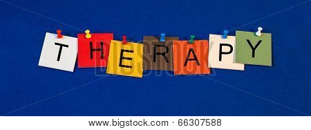 Therapy, Sign Series for Medical Health Care and Mental Fitness.