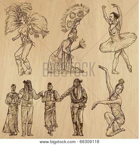 Dancers No. 3- Hand Drawn Collection, Vector