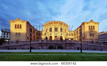 Oslo Stortinget Parliament At Sunset, Norway