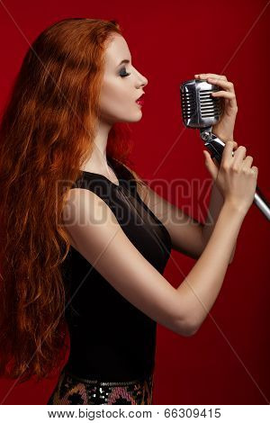 Portrait Of Singing Woman