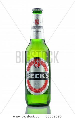 Becks beer isolated on white background