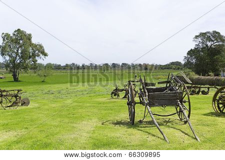 Ancient Wooden Carriage Of A Shaft