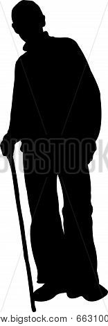 a poor man with walking stick, silhouette vector