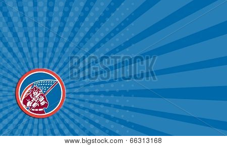 Business Card American Patriot Holding Flag Circle