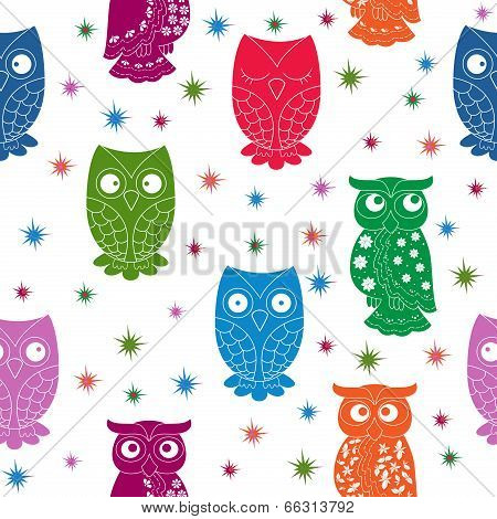 Multicolour Owl And Stars Seamless Pattern