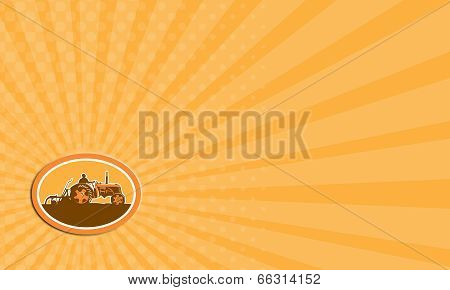 Business Card Farmer Driving Vintage Farm Tractor Oval Retro