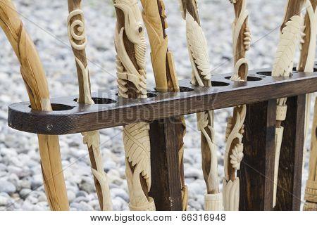 Wooden Sticks In Hand Engraved