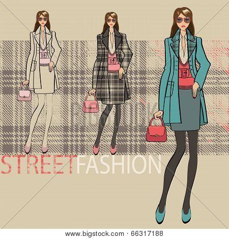 Lovely Fashionable Girl .options Ensemble.fashion Illustration