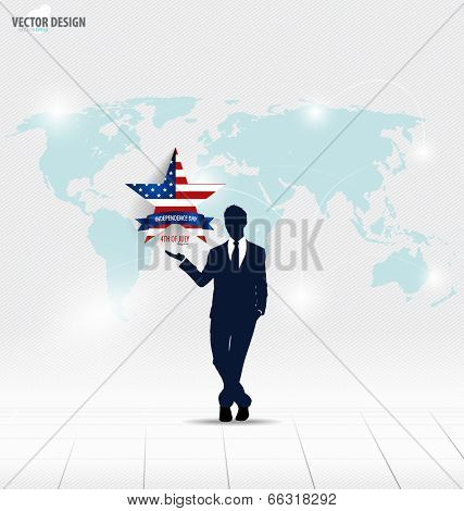 Happy independence day, 4th of July. Businessman showing star. Vector illustration.