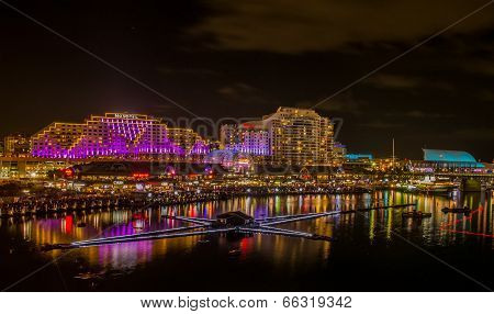 8th June 2014, Sydney, Australia - Darling Harbour illuminated for annual Vivid Sydney Festival