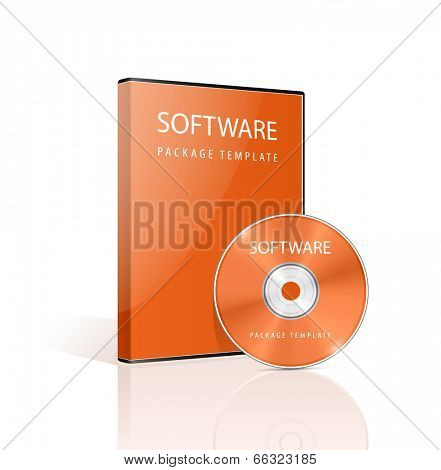 Red DVD case and disk on white background. Software package. Vector illustration.