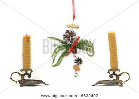 Candles And Handmade Christmas Decoration