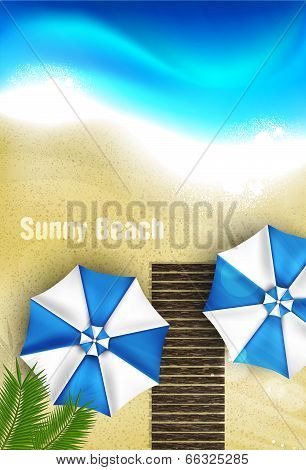 Azure coast with beach umbrellas