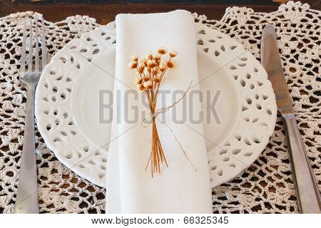 Plate Serviette Fork Knife Dried Flowers Crochet Doily