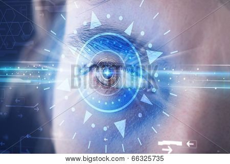 Modern cyber man with technolgy eye looking into blue iris
