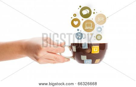 Coffee cup with social and media icons in colorful bubbles, isolated on white
