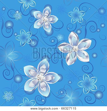 Seamless pattern of silver flowers