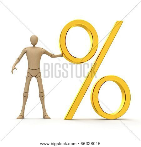 Manikin With Giant Percent Sign