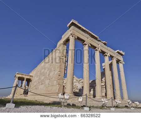 extreme perspective of erechtheion temple, Acropolis of Athens Greece