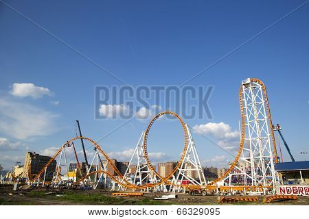 The Thunderbolt roller coaster under construction at the Coney Island in Brooklyn