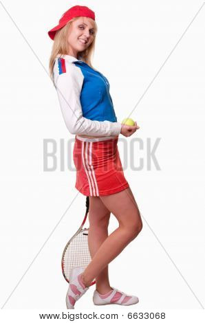 Young Attractive Caucasian Twenties Woman Tennis Player