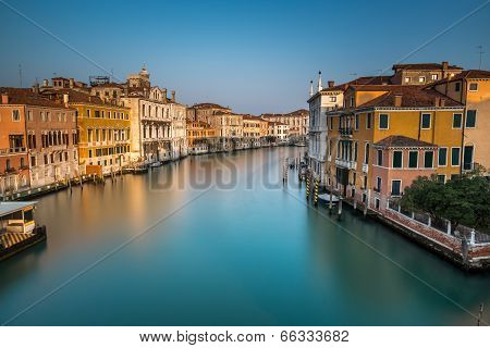 View On Grand Canal And Vaparetto Station From Accademia Bridge At Sunrise, Venice, Italy