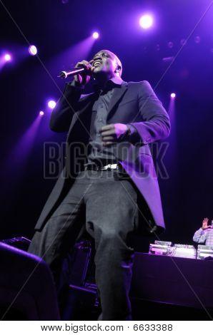 Akon performing live.