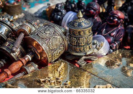 Prayer Wheels At Kathmandu Market